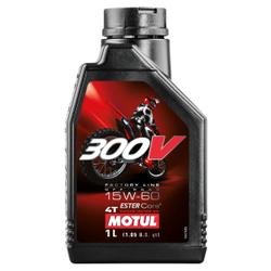 Motul 300 V 4T FL Off Road 15W60 Motorenöl , Hochleistungsmotorenöl speziell für Rennsportmotorräder mit 4-Takt-Motor, 1000 ml - Kanister