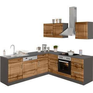 HELD MÖBEL Winkelküche Stockholm, ohne E-Geräte, Stellbreite 220/220 cm, mit hochwertigen MDF Fronten im Landhaus-Stil beige L-Küchen Küchenzeilen -blöcke Küchenmöbel