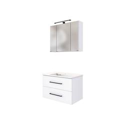 Lomadox Waschtisch-Set MANLY-03, (Spar-Set), inkl. LED Spiegelschrank und Waschbecken weiß B/H/T: 80/200/47 cm