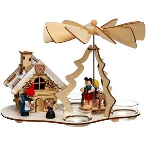 SIKORA Weihnachtspyramide P30 Hexenhaus 2-in-1 für Teelichte mit funktionsfähigem Räucherhaus