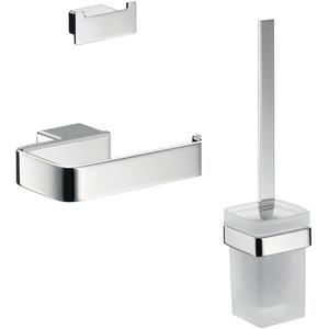 emco 059800100 Loft WC 3-teiliges Badaccessoire-Set inkl. Handtuchhaken, Papierhalter, Toilettenbürstengarnitur 3 in 1 perfekt für jedes Bad, Chrom