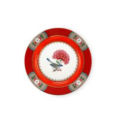PIP Studio Plate Blushing Birds in rot, 17 cm