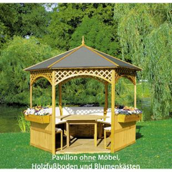 Promadino Pavillon Palma mit Holzdach und Dachpappe
