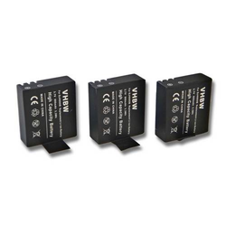 3 x vhbw Li-Ion Akku Set 900mAh (3.7V) für Camcorder, Videokamera, Sportkamera DBPower EX4000, EX5000 wie SJ4000.