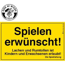 A 600 036 Kids at Work Schild Spielen erwünscht! CORVUS Kids at Work Schild Spielen erwünscht!