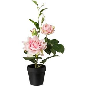 Künstlicher Rosenbusch im Topf  40 cm (Farbe: rosa)