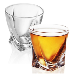 Intirilife Whiskyglas, Glas, 2x Whisky Glas in KRISTALL KLAR 'TWISTED' - Old Fashioned Whiskey Kristallglas