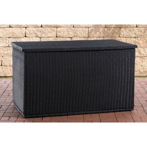 CLP Auflagenbox Comfy Rundrattan, Kissenbox aus Polyrattan schwarz
