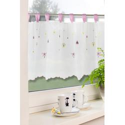 Scheibengardine Küchengardine Kinderzimmergardine Scheibengardine Stickerei 2504 Weiß Pink Bunt 48x140 cm, EXPERIENCE, Schlaufen (1 Stück), mit 10 Schlaufen