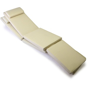 Nexos GL06050_SL2 DIVERO 2-er Set Liegenauflagen für Deckchair Steamer Sitzpolster für Gartenmöbel Holzliege Liegestuhl - bequem hochwertig robust - Creme, weiß