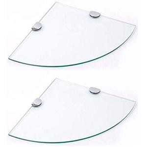 Eckregale aus 6 mm gehärtetem Glas, 2 x 250 mm