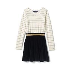 Langärmliges Kleid im Materialmix - 98/104 - Weiß