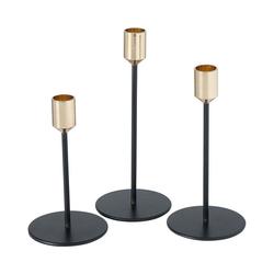 "BOLTZE Kerzenständer 3-tlg. Kerzenständer Set ""Marko"" H15-21cm schwarz"