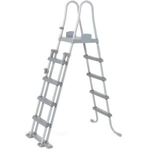 Bestway Flowclear Sicherheitsleiter, Poolleiter mit Kindersicherung durch hochklappbaren Einstieg, 132 cm