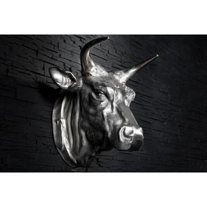Casa Padrino Designer Stierkopf Torero Höhe: 53 cm, Breite: 63 cm, Tiefe: 53 cm edle Skulptur aus Aluminium, vernickelt - Edel & Prunkvoll