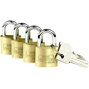 Burg Wächter 4er Set Set Quadro 222 40 SB Vorhängeschloss gleichschließend Messing Schlüsselschl