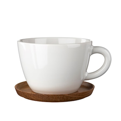 Höganäs Keramik Teetasse 500 ml mit Holzuntersetzer Weiß