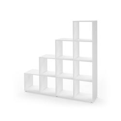 Vicco Stufenregal Treppenregal 10 Fächer Weiß - Raumteiler Bücherregal Büro Büroregal Standregal