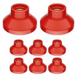 E27 Porzellan Lampen-Fassung Elektra, rund, rot, 90mm, 8 Stk.
