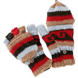 Guru-Shop Strickhandschuhe Handschuhe, handgestrickte Klapphandschuhe..