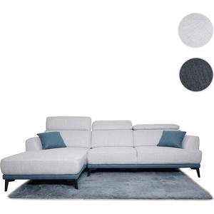 Sofa HWC-G44, Couch Ecksofa L-Form, Liegeflche Nosagfederung Taschenfederkern Teppich verstellbar ~ links, hellgrau