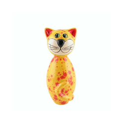 Tangoo Dekoobjekt Tangoo Keramik-Katze MINI gelbe Effektglasur mit