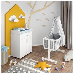 VitaliSpa® Babybett Wiege NOAH Schaukelwiege Babywiege Holz Weiß Grau Bett Set Buche