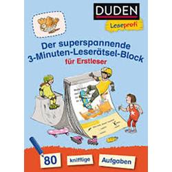 Duden Der superspannende 3-Minuten-Leserätsel-Block für Erstleser 73733384