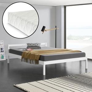 [en.casa] Holzbett 140x200cm Mit Matratze Bett Doppelbett Kiefer Jugendbett Weiß