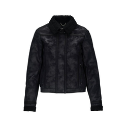 Replay Lederjacke mit Shearling-Kragen XL