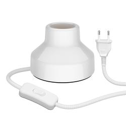 E27 Porzellan Tischlampe TIX, rund mit Stecker und Schalter, weiß, 90mm