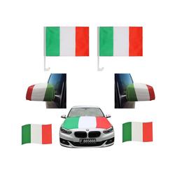 Sonia Originelli Fahne Auto Fan-Paket Haubenfahne Fensterfahnen Spiegelfahnen Magnetflaggen Italien Italy Italia, Fanartikel für das Auto in Italien-Farben Fanset-10XXL