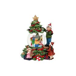 SIGRO Schneekugel Schneekugel Kinder am Weihnachtsbaum