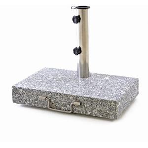 Nexos Sonnenschirmständer Granit Edelstahl 25kg halb eckig mit Griff und Räder 45,5 x 28 x 39 cm grau