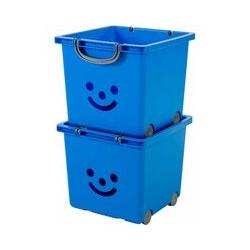 set - 2 grandes boîtes de rangement pour jouet sur roulette - Smiley Kids Boxes - KCB-32, blue