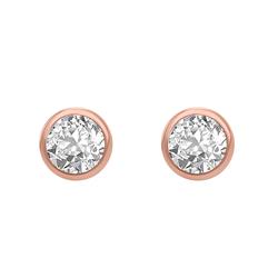Bezel-Ohrringe aus Gold mit weißen Topasen Wetty
