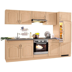 wiho Küchen Küchenzeile Linz, mit E-Geräten, Breite 270 cm, mit Cerankochfeld natur