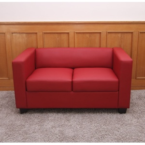2er Sofa Couch Loungesofa Lille ~ Kunstleder, rot
