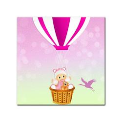Bilderdepot24 Leinwandbild, Leinwandbild - Kinderbild - Baby im rosa Heissluftballon 80 cm x 80 cm
