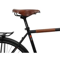 Gusti Leder Kettenschutz Erik, Kettenstrebenschutz Fahrrad Rahmenschutz Cognac Leder