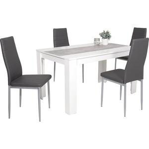 5-tlg. Essgruppe Lilo, Holzwerkstoff weiß/betonfarbig, Stuhl Kunstleder grau, 140x80x76 cm