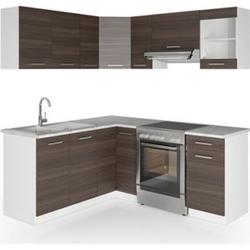 Vicco Küche Küchenzeile L-Form Küchenblock Einbauküche Komplettküche 167x187cm Anthrazit