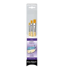 DaVinci Pinsel Hobby Malpinsel 3er Set, (3er Set), Hobbypinsel, Modellbau, Malen, Flachpinsel, Synthetikpinsel
