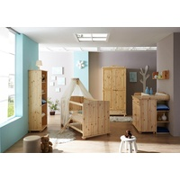 TICAA Babyzimmer-Komplettset »Adam«, Bett + Wickelkommode + Schrank + Anstellregal + Standregal natur
