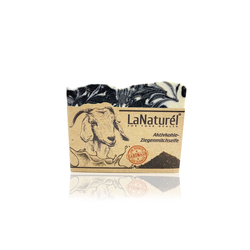 LaNaturel Seife 100% Handmade 110g Aktivkohle & Ziegenmilchseife Naturseife für entfernt Unreinheiten, Pflegt die Haut intensiv, besseres Hautbild, Vitamin A, E, B5, 1-tlg.