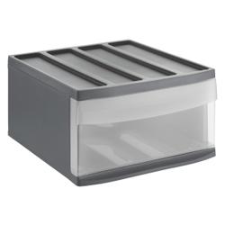 Rotho SYSTEMIX Schubladenbox, 1 Schubfach, Aufbewahrungsbox aus PP-Kunststoff , Maße: 395 x 340 x 203 mm, anthrazit