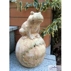 Willkommen Figur mit Frosch kleine Froschfigur auf Kugel 26cm 3kg