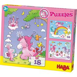 Haba Puzzle 3er Puzzle-Set - Einhorn Glitzerglück, Puzzleteile