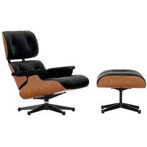 Vitra Lounge Chair XL und Ottoman schwarz, Designer Charles & Ray Eames, 89/42x84/63x85-92/56 cm