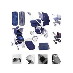 Lorelli Kombi-Kinderwagen Kombikinderwagen Aster 2 in 1, Schwenkräder, Fußsack, Tasche, Sonnendach blau